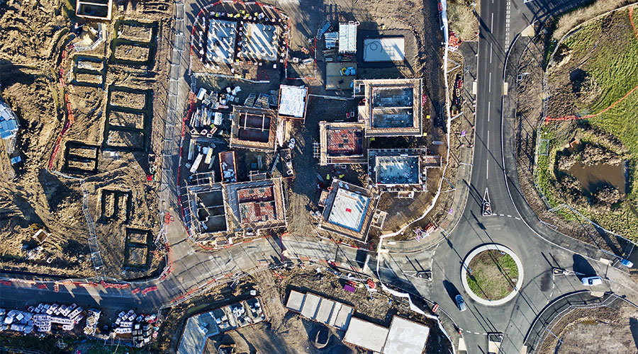 Drone aerial image construction site