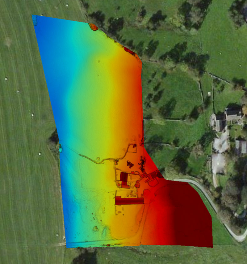 drone land survey north yorkshire - contour shading